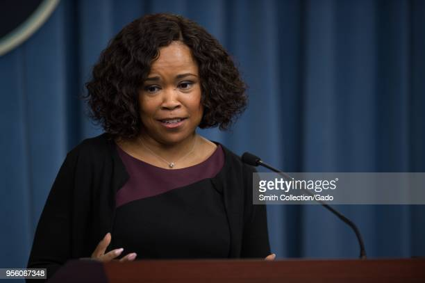 Dana White the Assistant to the Secretary of Defense for Public Affairs briefing at the Pentagon Washington USA May 5 2018 Image courtesy Sgt Amber...
