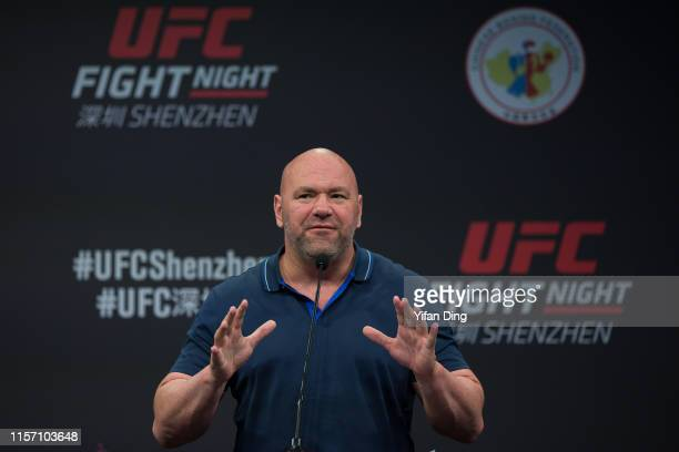 Dana White, UFC President gives a speech during 2019 UFC Performance Institute Panel and UFC Fight Night Shenzhen Press Conference at UFC Performance...