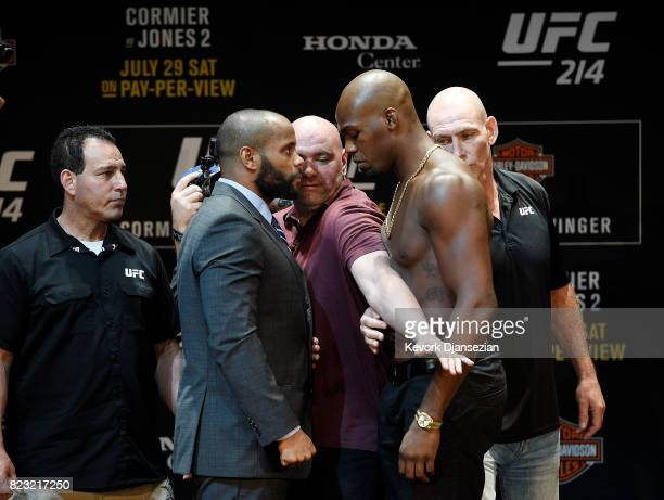 Dana White UFC President separates the two fighters Daniel Cormier and Jon Jones during the UFC 214 Press Conference July 26 2017 at The Novo by...