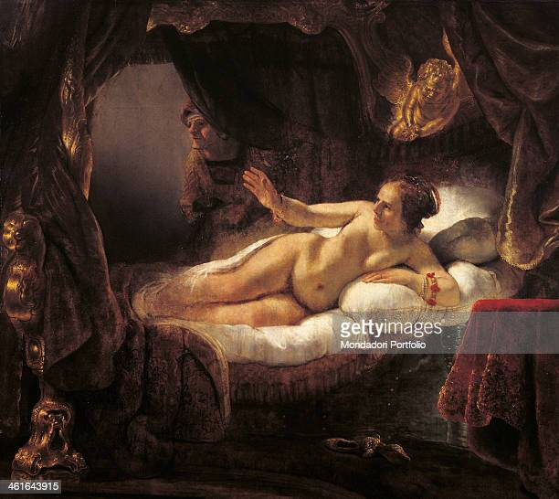 Danae by Rembrandt Harmenszoon van Rijn 17th Century oil on canvas 185 x 2025 cm Russia St Petersburg The State Hermitage MuseumWhole artwork view A...