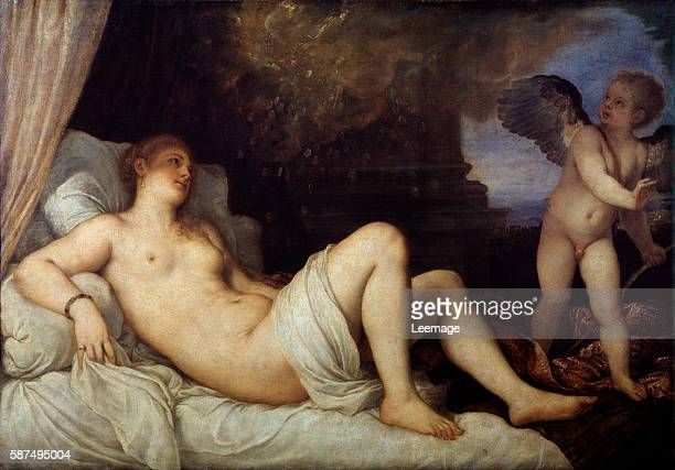 Danae Zeus as a shower of gold seduce the young girl Painting by Tiziano Vecellio called Titian 15451546 Dim 149x202 cm Naples Capodimonte museum