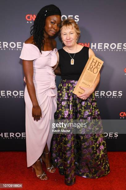 Danai Gurira and 2018 CNN Hero Ellen Stackable pose during the 12th Annual CNN Heroes An AllStar Tribute at American Museum of Natural History on...
