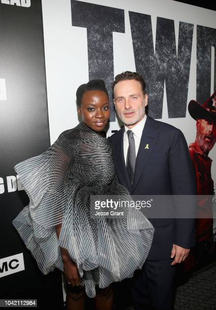 Danai Gurira and Andrew Lincoln attend The Walking Dead Premiere and After Party on September 27, 2018 in Los Angeles, California.