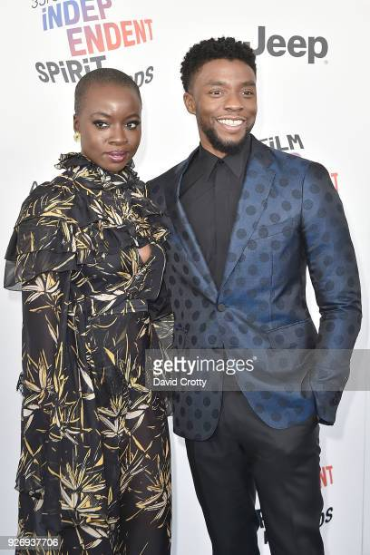 Danai Gurira and Chadwick Boseman attend the 2018 Film Independent Spirit Awards Arrivals on March 3 2018 in Santa Monica California