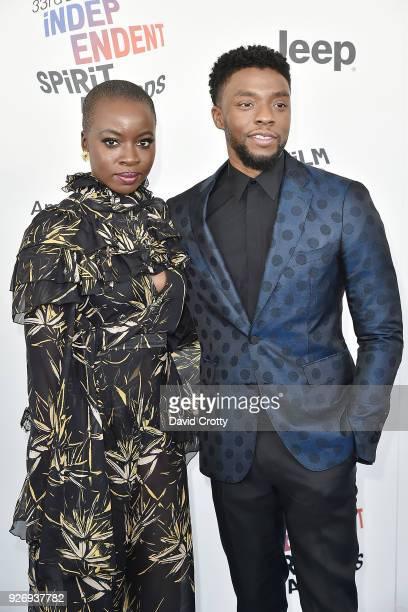 Danai Gurira and Chadwick Boseman attend the 2018 Film Independent Spirit Awards Arrivals on March 3 2018 in Santa Monica California