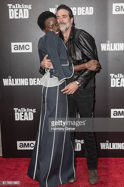 Danai Gurira and Jeffrey Dean Morgan arrive at AMC presents live 90minute special edition of 'Talking Dead' at Hollywood Forever on October 23 2016...