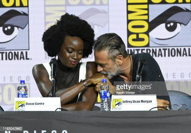"Danai Gurira and Jeffrey Dean Morgan speak at ""The Walking Dead"" Panel during 2019 Comic-Con International at San Diego Convention Center on July 19,..."