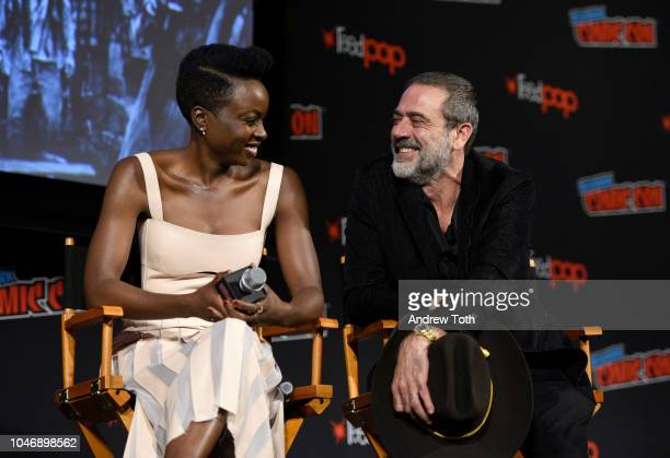 Danai Gurira and Jeffrey Dean Morgan speak onstage during The Walking Dead panel during New York Comic Con at Jacob Javits Center on October 6 2018...