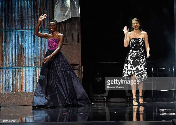 """Danai Gurira and Lauren Cohan attend AMC's """"The Walking Dead"""" season 6 fan premiere event at Madison Square Garden on October 9, 2015 in New York..."""
