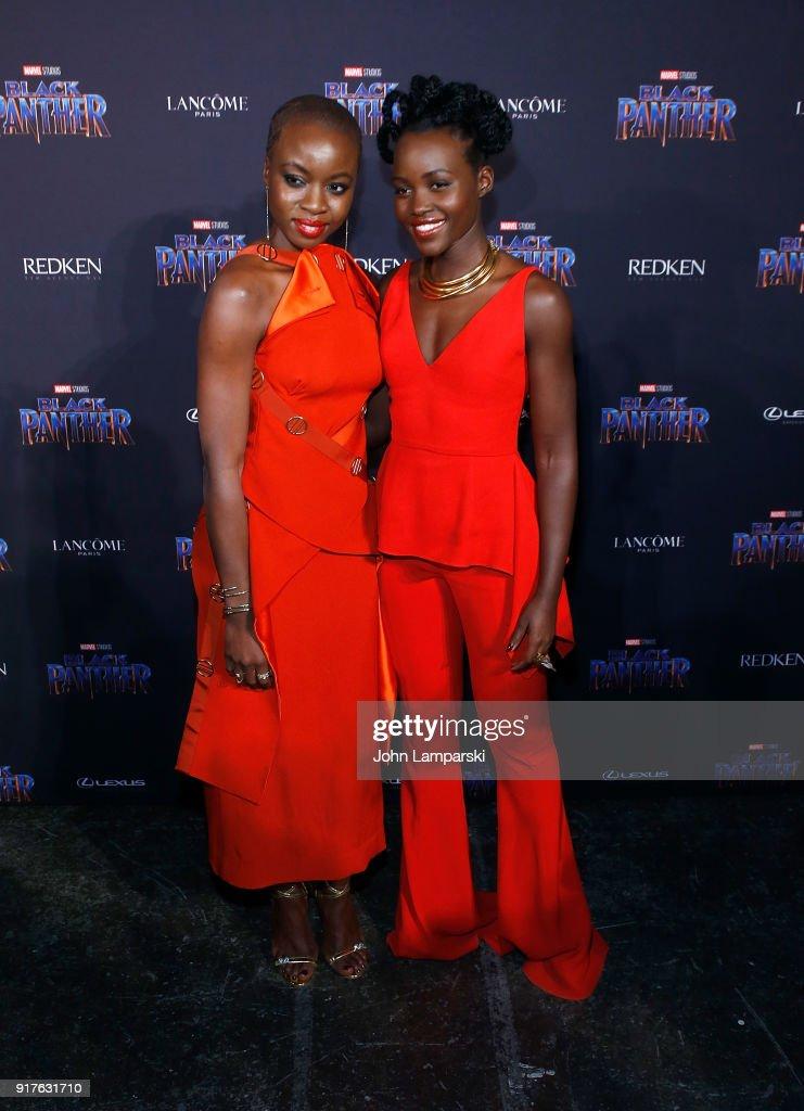 Danai Gurira and Lupita Nyong'o attend Marvel Studios Presents: Black Panther Welcome To Wakanda during February 2018 New York Fashion Week: The Shows at Industria Studios on February 12, 2018 in New York City.