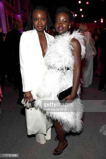Danai Gurira and Lupita Nyong'o attend the 2019 Vanity Fair Oscar Party hosted by Radhika Jones at Wallis Annenberg Center for the Performing Arts on...