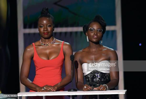 Danai Gurira and Lupita Nyong'o speak onstage during the 26th Annual Screen Actors Guild Awards at The Shrine Auditorium on January 19, 2020 in Los...