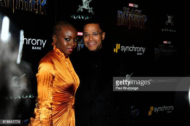 Danai Gurira and Maxwell attend The Cinema Society with Ravage Wines Synchrony host a screening of Marvel Studios' 'Black Panther' at The Museum of...