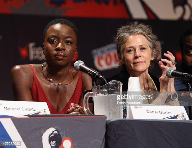 Danai Gurira and Melissa McBride speak at 'The Walking Dead' NY Comic Con Panel on October 11 2014 in New York City