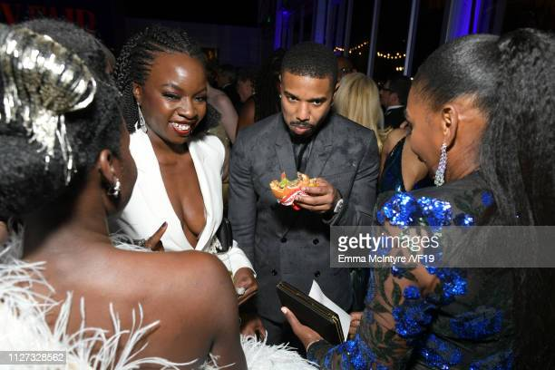 Danai Gurira and Michael B Jordan attends the 2019 Vanity Fair Oscar Party hosted by Radhika Jones at Wallis Annenberg Center for the Performing Arts...