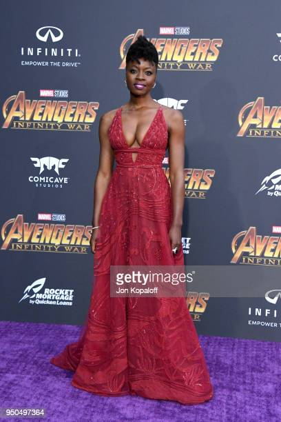Danai Gurira attends the premiere of Disney and Marvel's 'Avengers Infinity War' on April 23 2018 in Los Angeles California