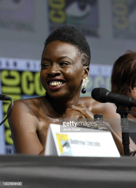 Danai Gurira attends 'The Walking Dead' panel with AMC during during ComicCon International 2018 at San Diego Convention Center on July 20 2018 in...