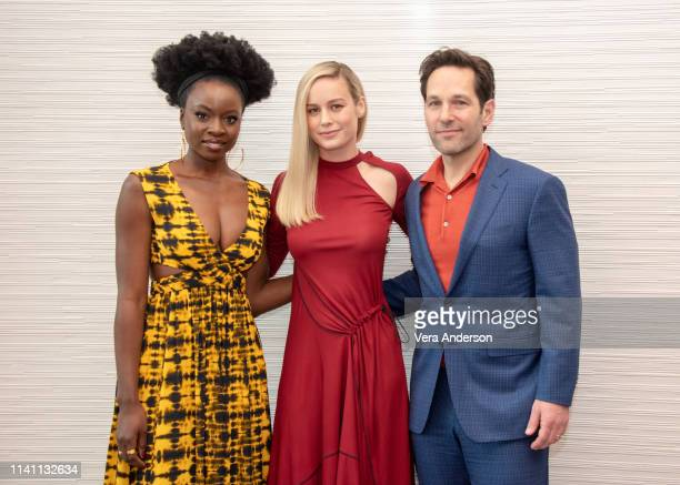 Danai Gurira Brie Larson and Paul Rudd at the Avengers Endgame Press Conference at the InterContinental Hotel on April 07 2019 in Los Angeles...