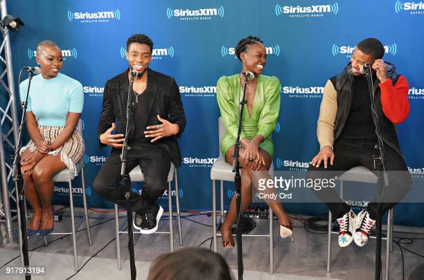 Danai Gurira Chadwick Boseman Lupita Nyong'o and Michael B Jordan take part in SiriusXM's Town Hall with the cast of Black Panther hosted by...
