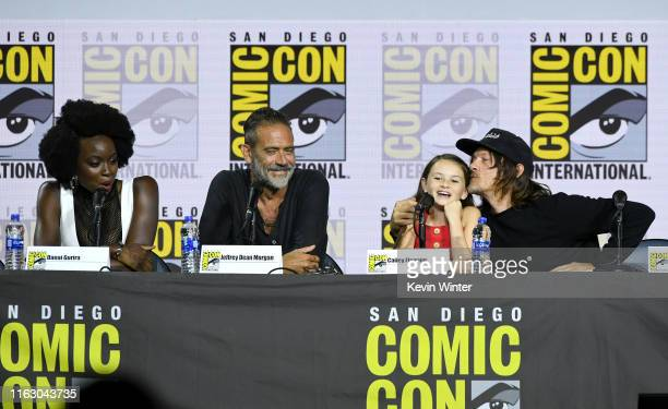 Danai Gurira Jeffrey Dean Morgan Cailey Fleming and Norman Reedus speak at The Walking Dead Panel during 2019 ComicCon International at San Diego...