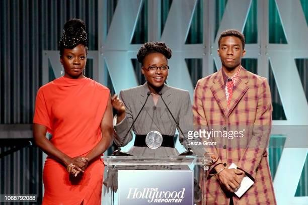 Danai Gurira Lupita Nyong'o and Chadwick Boseman speak onstage during The Hollywood Reporter's Power 100 Women In Entertainment at Milk Studios on...