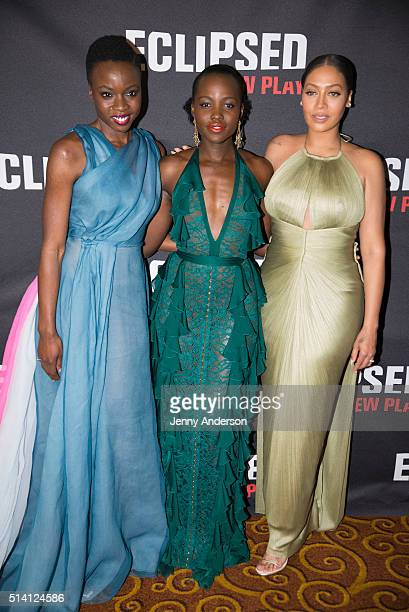 Danai Gurira Lupita Nyong'o and LaLa Anthony attend the Eclipsed Broadway opening night at Gotham Hall on March 6 2016 in New York City