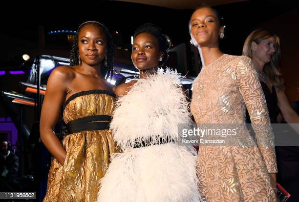 Danai Gurira Lupita Nyong'o and Letitia Wright attend the 91st Annual Academy Awards Governors Ball at Hollywood and Highland on February 24 2019 in...
