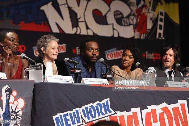 Danai Gurira Melissa McBride Chad L Coleman Sonequa MartinGreen and Norman Reedus speak at The Walking Dead NY Comic Con Panel on October 11 2014 in...
