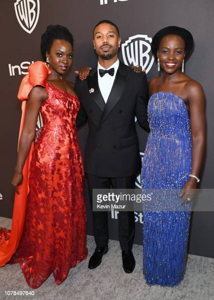 Danai Gurira Michael B Jordan and Lupita Nyong'o attend the 2019 InStyle and Warner Bros 76th Annual Golden Globe Awards PostParty at The Beverly...