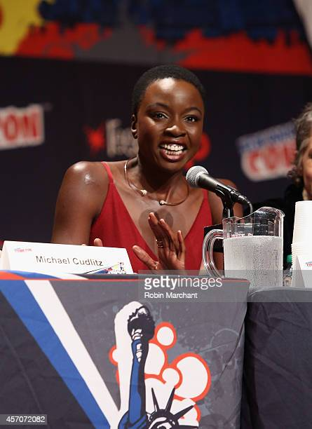 Danai Gurira speaks at The Walking Dead NY Comic Con Panel on October 11 2014 in New York City