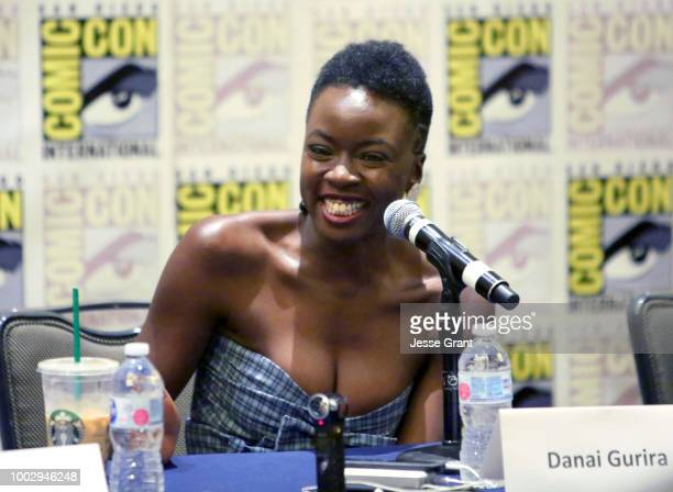 Danai Gurira speaks at The Walking Dead Press Conference during Comic Con 2018 on July 20 2018 in San Diego California