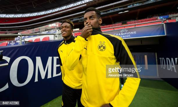 DanAxel Zagadou and Alexander Isak of Borussia Dortmund on their way to the training session prior to the UEFA Champions League First Qualifying...