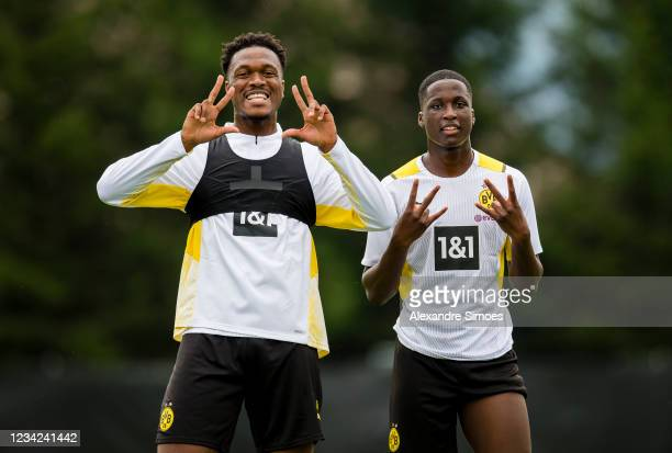 Dan-Axel Zagadou and Soumaila Coulibaly of Borussia Dortmund during a training session as part of the training camp on July 27, 2021 in Bad Ragaz,...