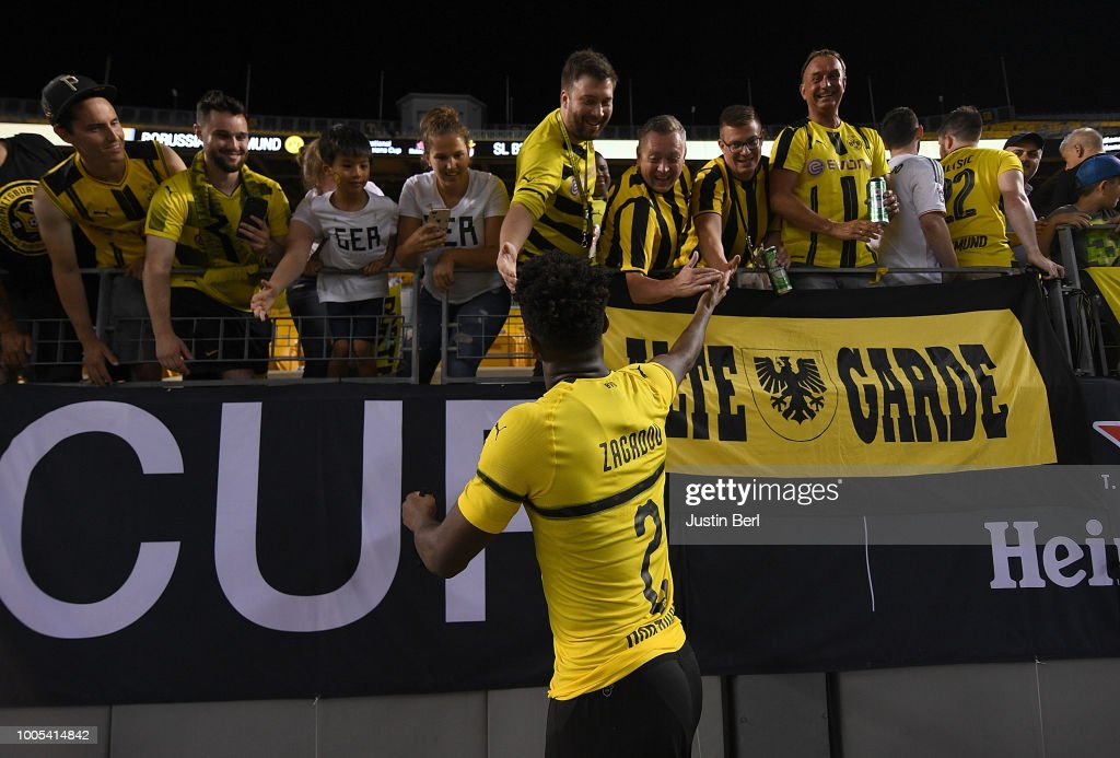 Dan-Axel Zagadou #2 of Borussia Dortmund acknowledge the fans at the conclusion of a 2-2 (4-3 on Penalty Kicks) win by Benfica during the 2018 International Champions Cup match at Heinz Field on July 25, 2018 in Pittsburgh, Pennsylvania.
