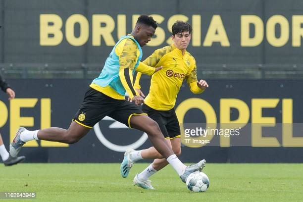 DanAxel Zagadou of Borussia Dortmund and Leonardo Balerdi of Borussia Dortmund battle for the ball during the Borussia Dortmund Training Session on...