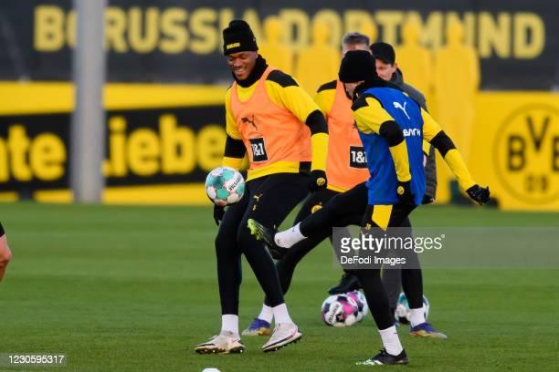 Dan-axel Zagadou of Borussia Dortmund and Lukasz Piszczek of Borussia Dortmund battle for the ball during the Borussia Dortmund Training Session on...