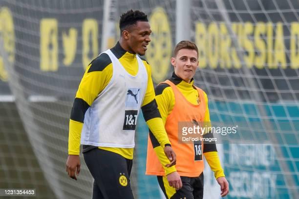 Dan-axel Zagadou of Borussia Dortmund and Thorgan Hazard of Borussia Dortmund look on during the Borussia Dortmund training session on February 23,...