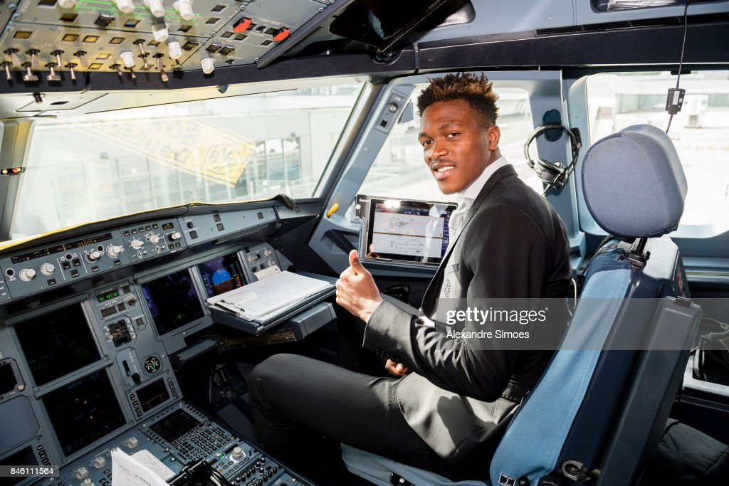 Dan-Axel Zagadou of Borussia Dortmund before flying to London for the UEFA Champions League: First Qualifying Round 1st Leg match between Tottenham Hotspur and Borussia Dortmund at Dortmund Airport on September 12, 2017 in Dortmund, Germany.