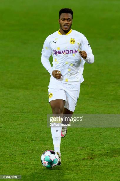 Dan-axel Zagadou of Borussia Dortmund controls the ball during the DFB Cup second round match between Eintracht Braunschweig and Borussia Dortmund at...