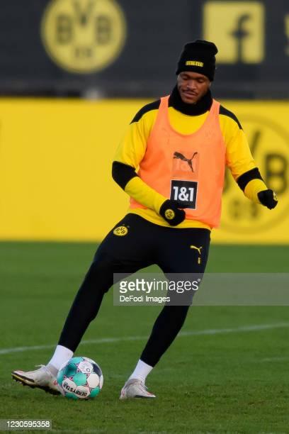 Dan-axel Zagadou of Borussia Dortmund controls the ball during the Borussia Dortmund Training Session on January 12, 2021 in Dortmund, Germany.
