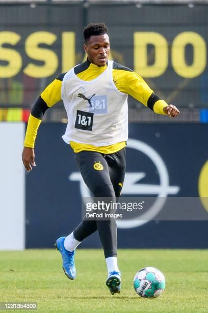 Dan-axel Zagadou of Borussia Dortmund controls the ball during the Borussia Dortmund training session on February 23, 2021 in Dortmund, Germany.