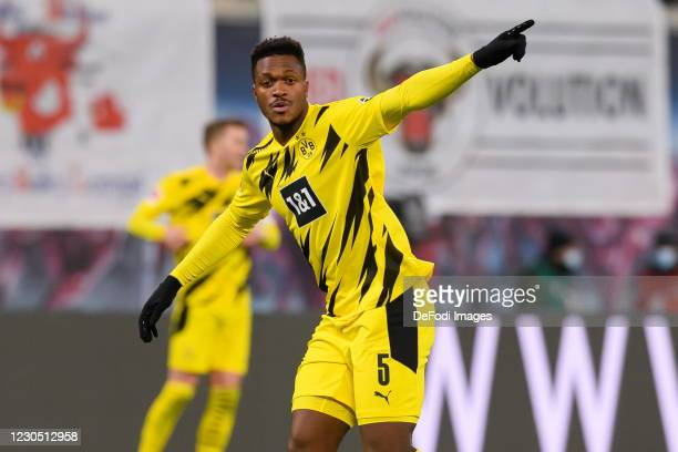 Dan-axel Zagadou of Borussia Dortmund gestures during the Bundesliga match between RB Leipzig and Borussia Dortmund at Red Bull Arena on January 9,...