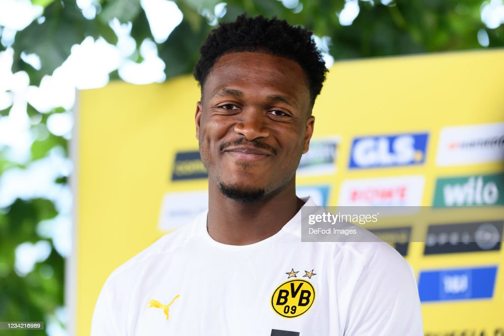 Dan-Axel Zagadou of Borussia Dortmund gives an interview during ...