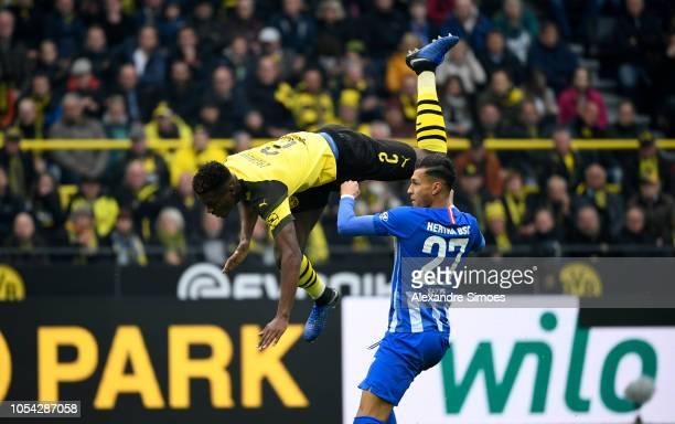 DanAxel Zagadou of Borussia Dortmund in action during the Bundesliga match between Borussia Dortmund and Hertha BSC at the Signal Iduna Park on...