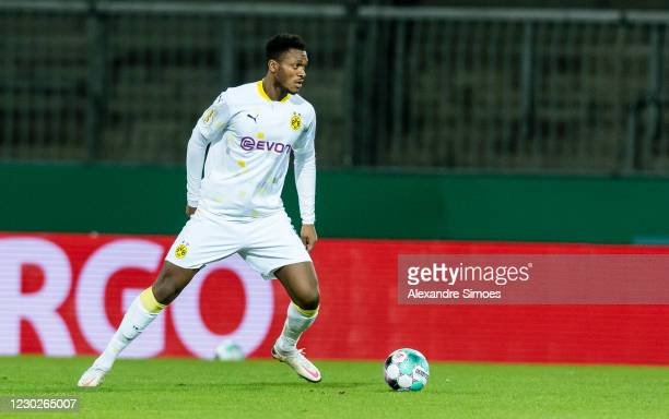 Dan-Axel Zagadou of Borussia Dortmund in action during the DFB Cup second round match between Eintracht Braunschweig and Borussia Dortmund at the...