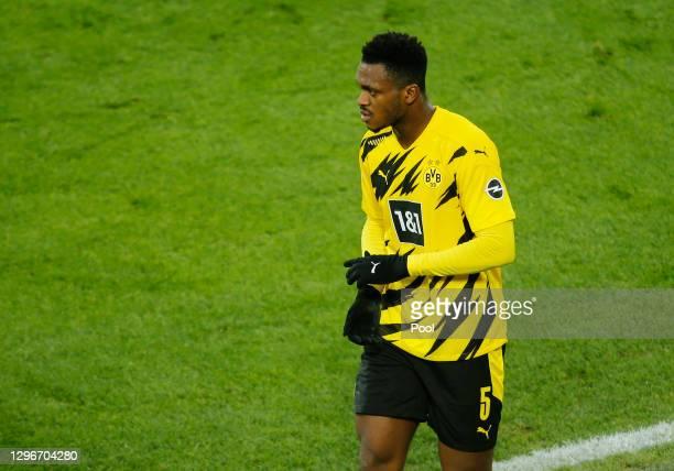 Dan-Axel Zagadou of Borussia Dortmund looks on during the Bundesliga match between Borussia Dortmund and 1. FSV Mainz 05 at Signal Iduna Park on...