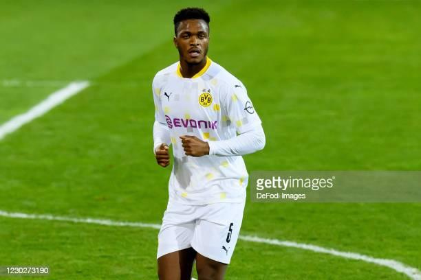Dan-axel Zagadou of Borussia Dortmund looks on during the DFB Cup second round match between Eintracht Braunschweig and Borussia Dortmund at...
