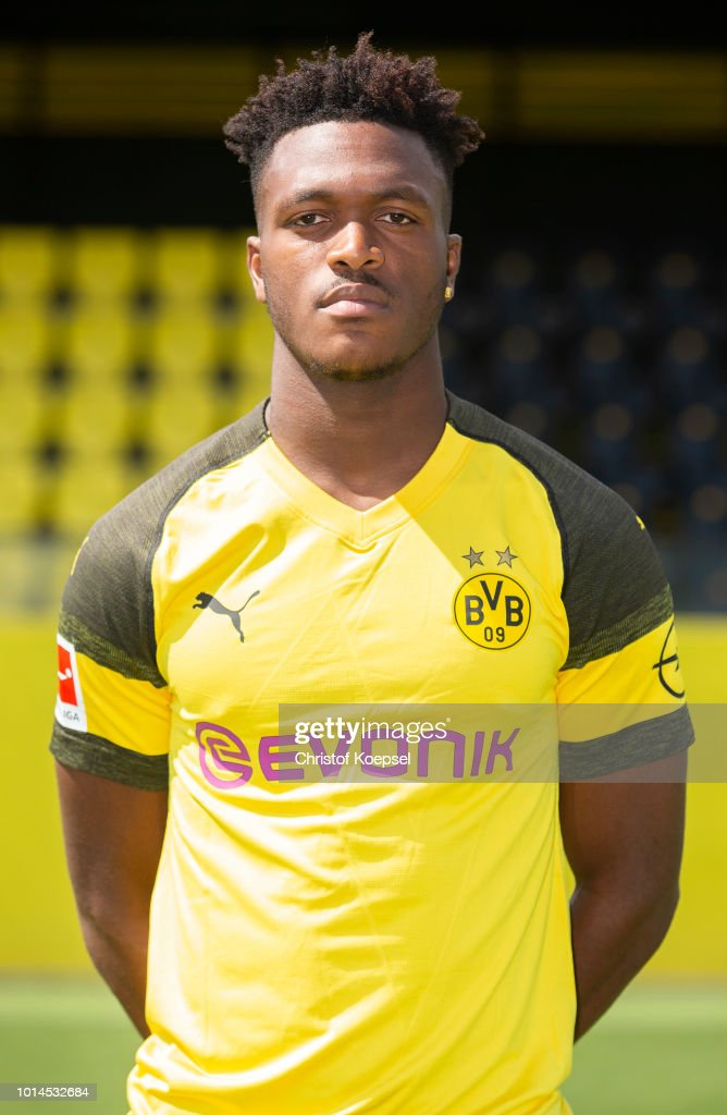 Dan-Axel Zagadou of Borussia Dortmund looks on during the team presentation at Training Ground Brackel on August 10, 2018 in Dortmund, Germany.