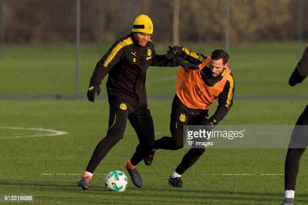 DanAxel Zagadou of Dortmund and Gonzalo Castro of Dortmund battle for the ball during a training session at BVB trainings center on January 30 2018...