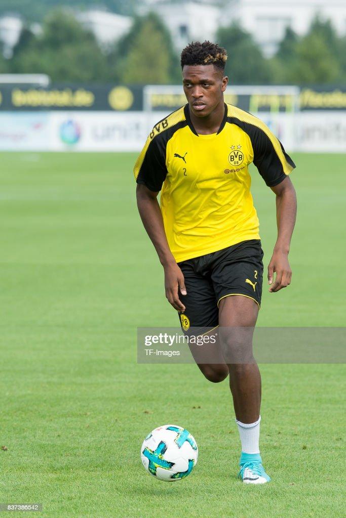 Dan-Axel Zagadou of Dortmund controls the ball during a training ...
